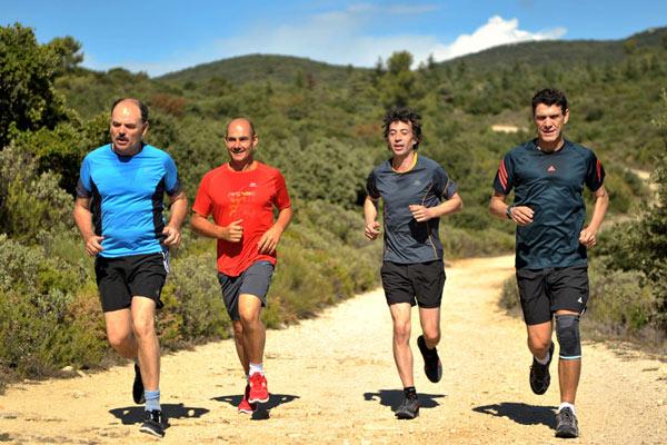 De gauche à droite: Z. Ibrahimovic, M. Verratti, E. Lavezzii et E. Cavani, à l'entraînement.